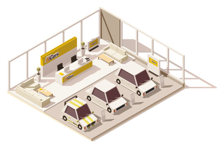Vector isometric low poly car dealership showroom Çizim