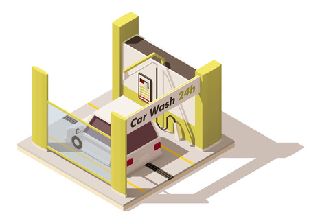 car care center: Vector isometric low poly car wash icon