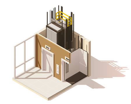 Vector isometric low poly elevator cutaway icon