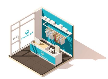 commercials: Vector isometric low poly commercial laundry icon Illustration
