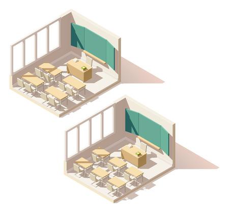 Vector isometric low poly school classroom