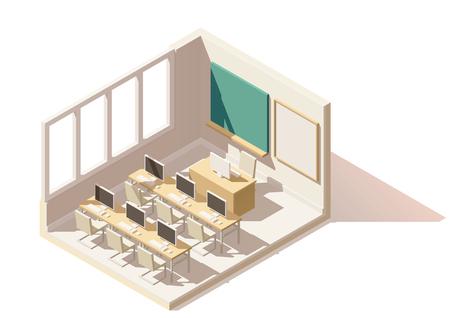 leccion: Vector isométrica baja poli aula de informática