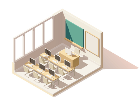 board: Vector isometric low poly computer classroom