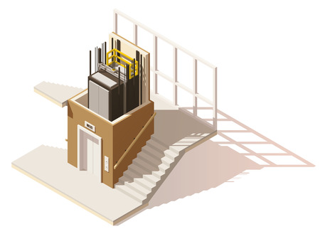 home office interior: Vector isometric low poly elevator cutaway icon