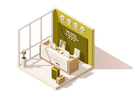 Ikony izometrycznej izometrycznej niskiej pol hotelowej recepcji Ilustracje wektorowe