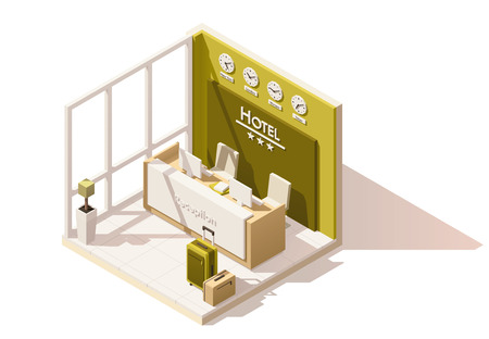 Vector isometric low poly hotel reception icon 免版税图像 - 71027718