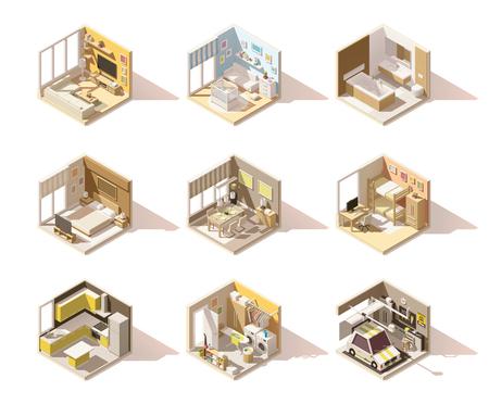 domestico: Vector isométrico de habitaciones de bajo poli nacional Ajuste