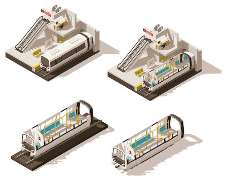 Vector isometrische laag poly metrostation weggesneden