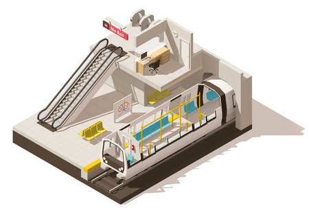 Vector isometric low poly subway station cutaway