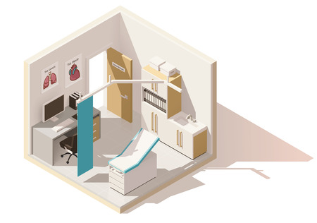 Vector isometric low poly doctors office icon Vettoriali