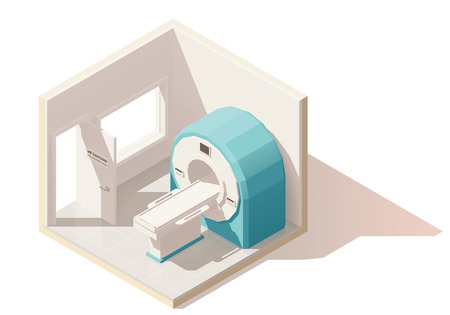 monitor: Vector isometric low poly MRI room icon