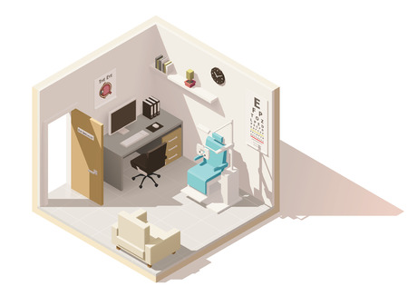 real: Vector isometric low poly ophthalmologist office