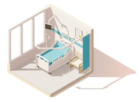 hospice: Vector isometric low poly hospital ward