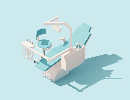 Vector isometrische lage poly tandheelkundige stoel Stock Illustratie