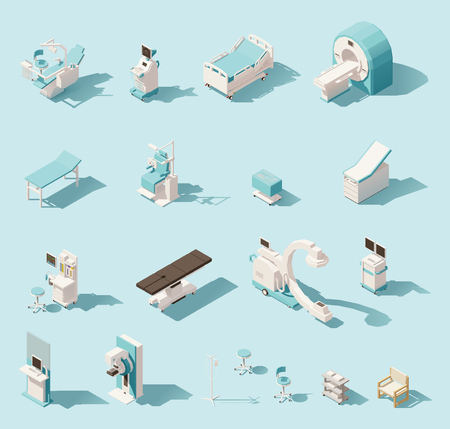 Vector isometric low poly medical equipment set