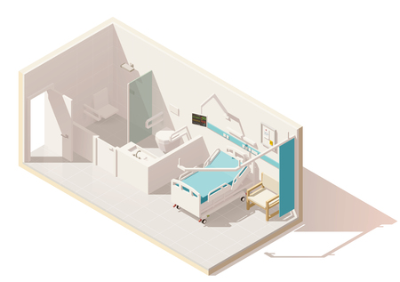 Vector isometric low poly hospital ward