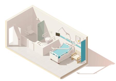 Vector isometrische lage poly ziekenhuisafdeling