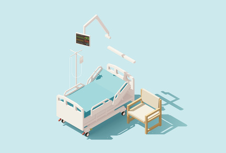 Vector isometric low poly hospital bed Stock Photo
