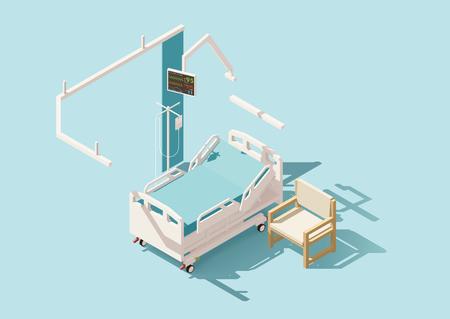 Vector isométrica cama baja del hospital poli