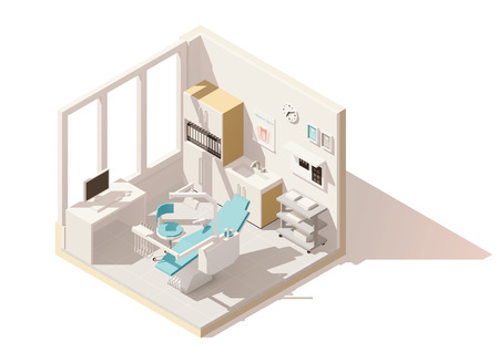 Vector isometric low poly dental office