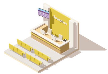 ベクトル等尺性の低ポリ病院の受付窓口