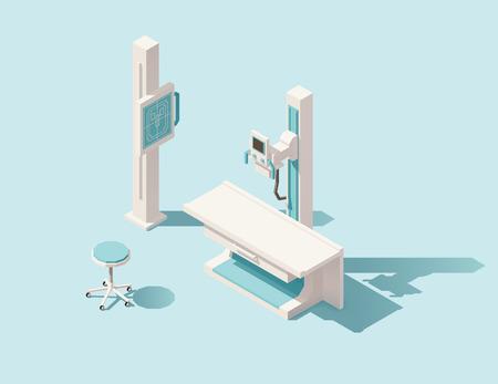 examenes de laboratorio: isométrica Vector bajo poli máquina de rayos x