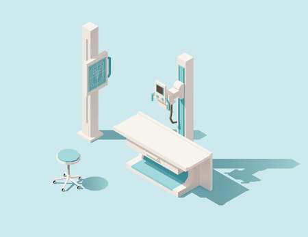 Vector isometric low poly x-ray machine