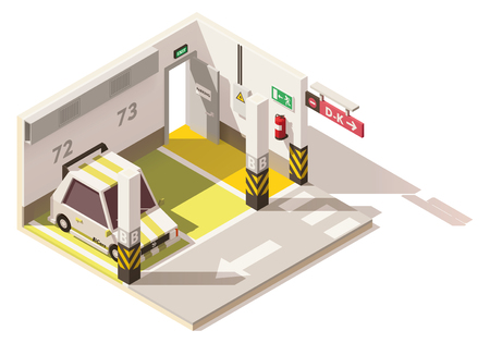 Vector isometric low poly underground car parking