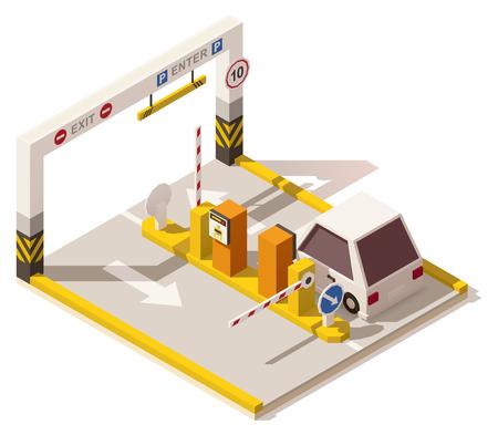 Vector isometrische low poly car parking ingang Stock Illustratie