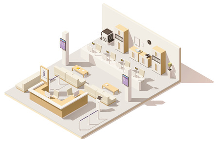 Vector isometric low poly queue management system