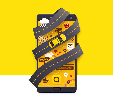 taxi: Vector icono de la aplicación móvil de taxi