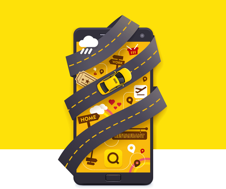 yellow car: Vector taxi mobile app icon