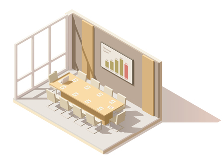 office desk: Vector isometric low poly office conference room