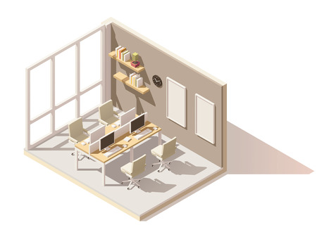 Vector isometric low poly office room 일러스트
