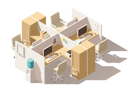office desk: Vector isometric low poly office cubicle. Includes workplaces with computers, office chairs and other furniture