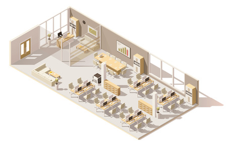 Isometric low poly office Ilustrace