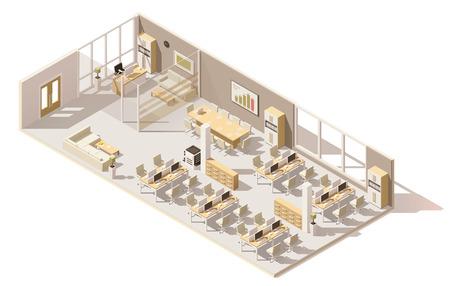 Isometrisch laag poly kantoor Stock Illustratie