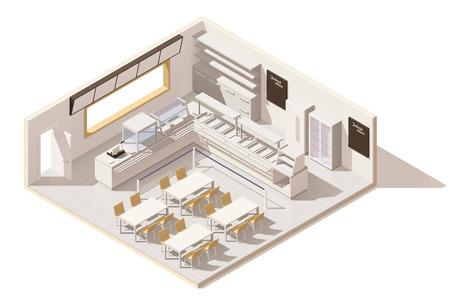 Isometrisch laag poly zelfbedieningsrestaurant Stock Illustratie