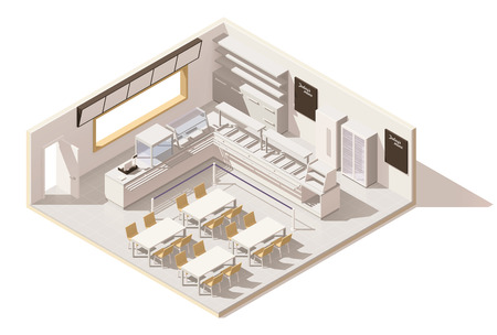 Isometric low poly self service restaurant