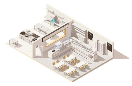 Creative Vector isometric low poly restaurant with kitchen Illustration