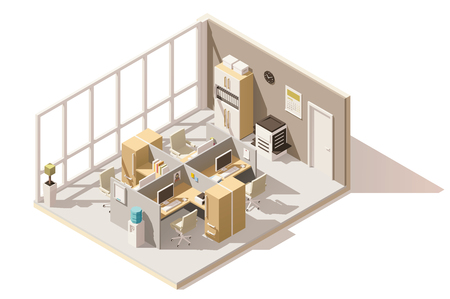 Creative Vector isometric low poly office room.