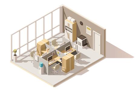 Creative Vector isometrische laag poly kantoorruimte.