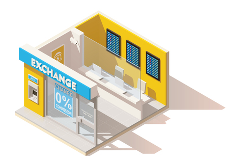 Vector isometric low poly currency exchange Stok Fotoğraf - 74541301