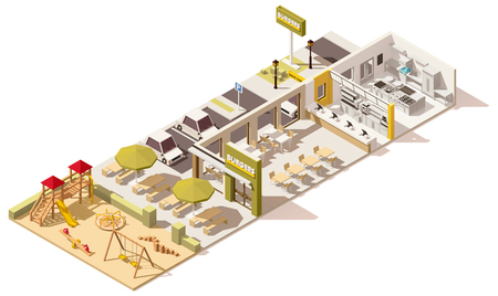 Vector isometric low poly fast food restaurant Çizim