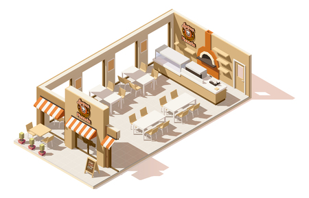 food: Vector isometric low poly pizzeria
