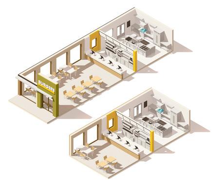 ベクトル等尺性の低ポリ ファーストフードのレストラン  イラスト・ベクター素材