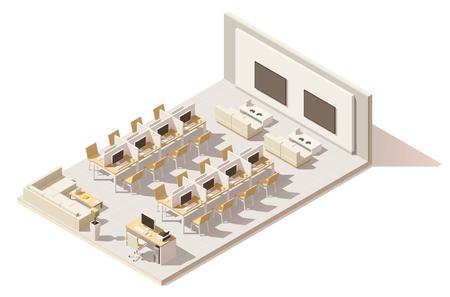 cybercafe: Vector isometric low poly internet cafe Illustration