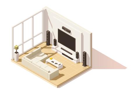 equipo de sonido: Vector isométrica bajo poly icono de la sala de estar