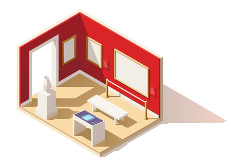 cutaway drawing: Vector isometric low poly museum interior Illustration