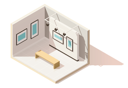 design: Vector isometric low poly museum interior Illustration